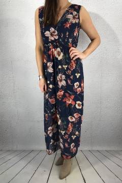 8526 Maxidress Navy/Flower