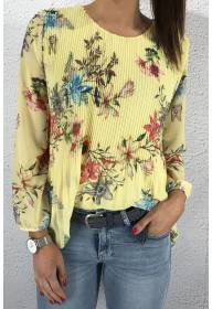 15580 Blouse plisserad Flower/Yellow