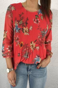 15580 Blouse plisserad Flower/Corall