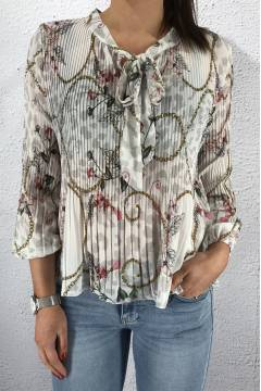 2295 Plisserad Blouse Flower/White