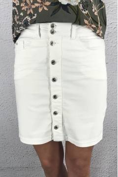 Denim Skirt color White