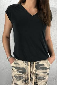 Cupro Top v-neck Black