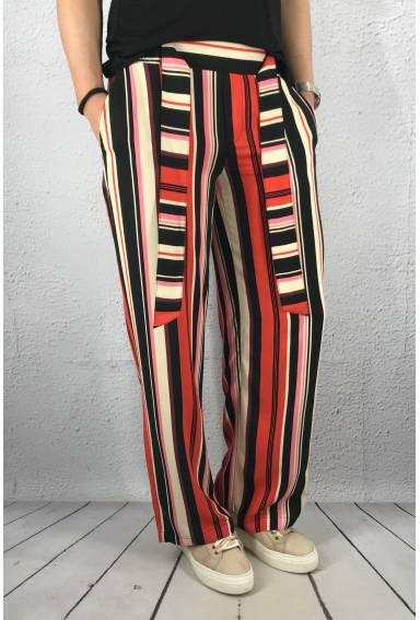 Pant stripe wide leg Vivid Red