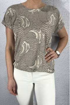 43115 Top print waves Beige