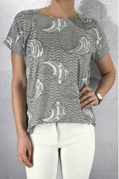 43115 Top print waves Grey
