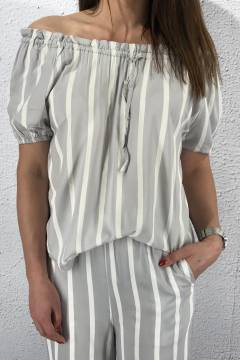 Blouse Molly Grey/White