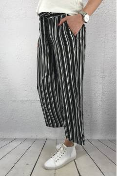 Pant wide leg  stripe QR Black/White