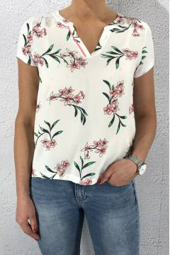Shirt Flower printed matmix White
