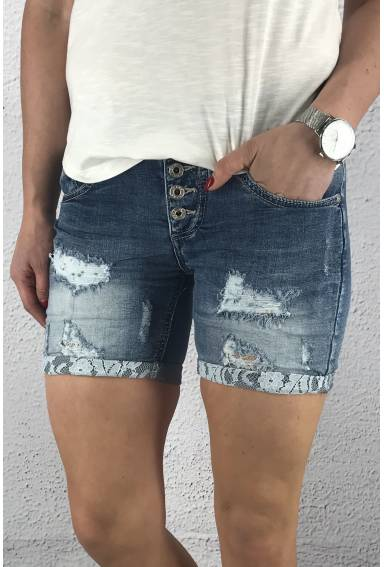 1250-1 Jeansshorts Blue Denim spets