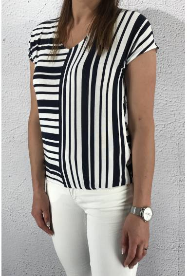 Blouse stripe mix Deep Blue