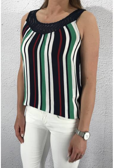 Top Tinka stripes Navy/White/Green