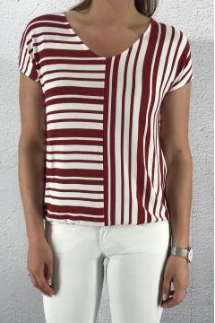 Blouse stripe mix Wine Red