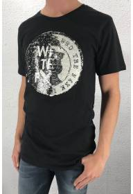 1007 Tee face sequins Black