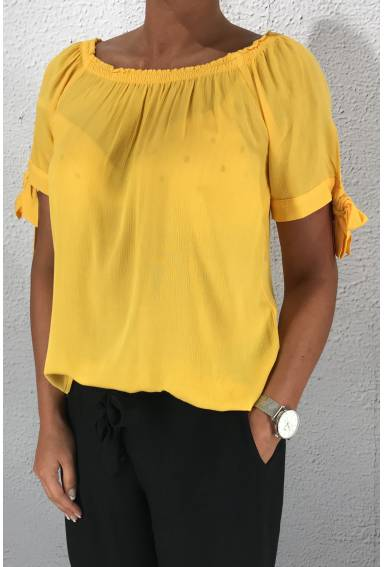Blouse Carmen solid lacing Gright clementine