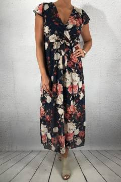8568 Dress flowerprint Navy