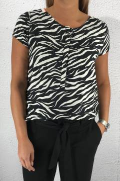 Blouse Vivian zebraprint Black/White
