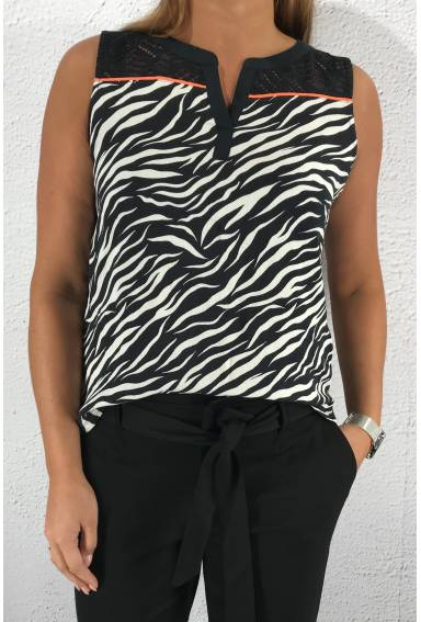 Top lace zebraprint Neongrey