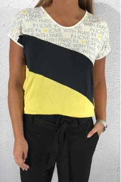 Top Ramona colourblock Creme/Yellow