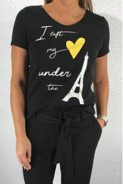 T-shirt glitter heartprint Black