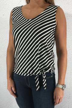 Top diagonal stripes Black/White