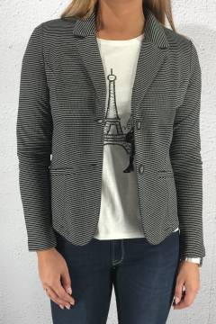 Jordis QR Blazer striped Black/White