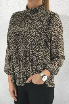 3587 Blouse pleated Leoprint