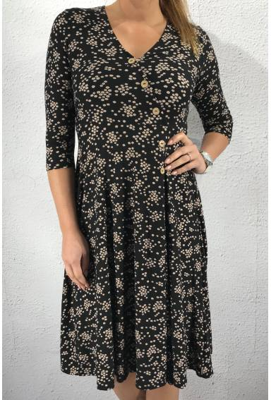 53195 Dress Black/Flower