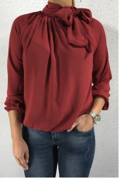 Blouse with Bow Bordeux