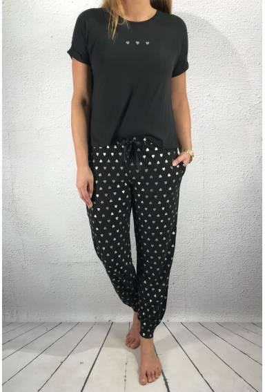 Soft set Top/Pant Black/Silver