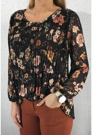 15576 Blouse plisserad Flower/Black