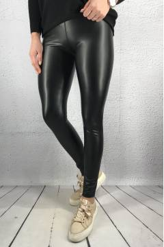 18013 Leggins leatherlook Black