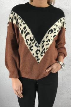 2786 Sweater knitted Animalprint Rust