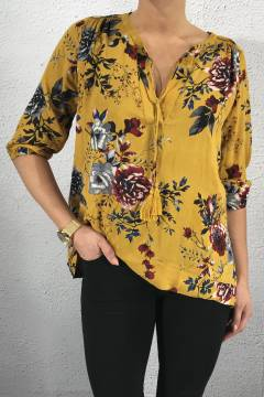 Blouse Tassles BurnYellow/Flower