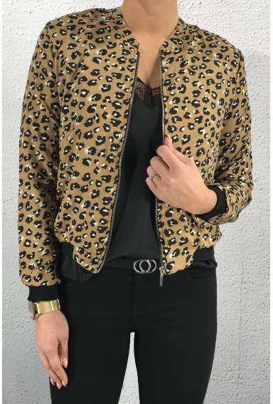 Jacket leoprint camel