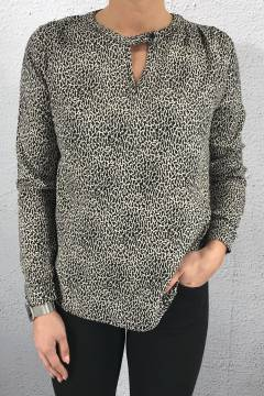 Blouse leoprint Black/Beige