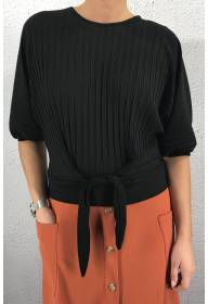 6008 Top pleated with tie Black