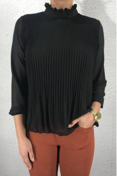 3587 Blouse pleated Black