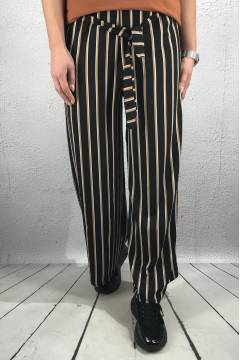 9739 Pant wide stripe Black/Camel