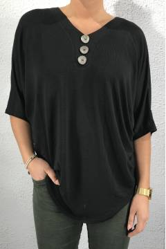 NL53052 Top/Blouse 3-button Black