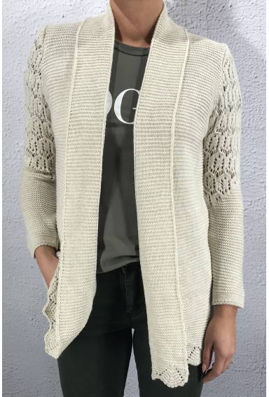 19264 Knitted Cardigan Beige