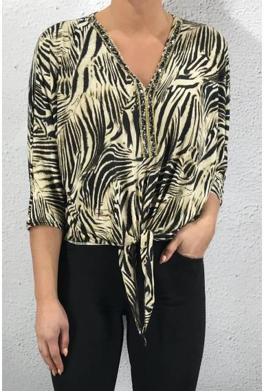 19240 Blouse V-neck zebra Bling