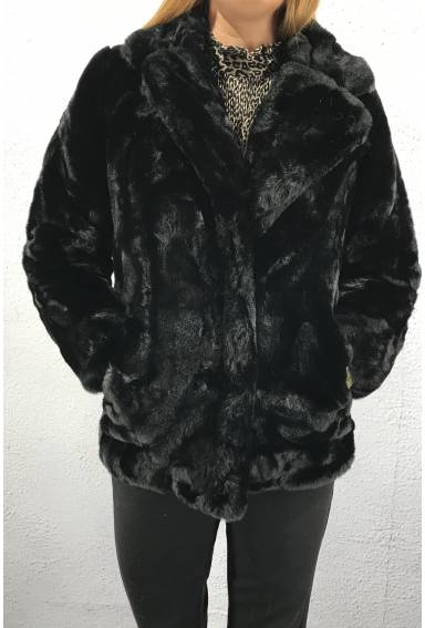 7088 Jacket fake fur Black
