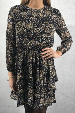 Nicoline Dress Navy/Cacao