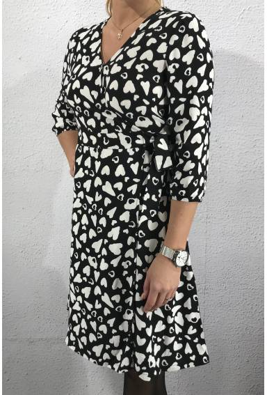 Wrap dress printed Heart Black/White