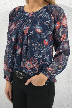 8142 Blouse roseprint Navy