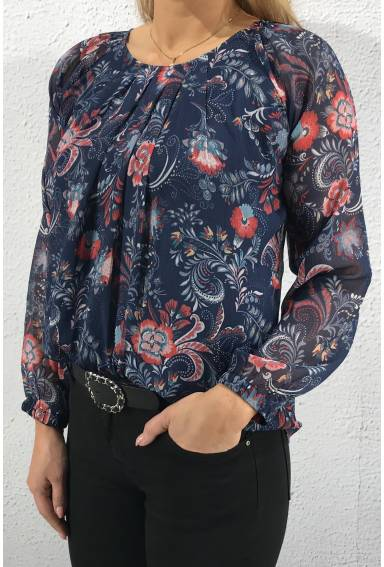 Blouse roseprint Navy