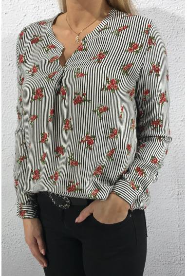 8144 Blouse alloverprint Roses
