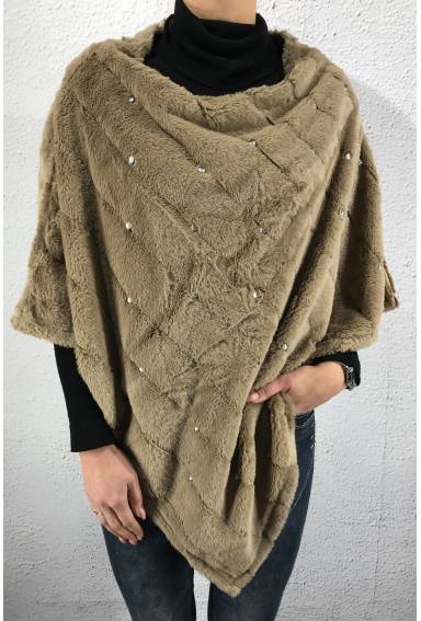 1915 Poncho fake fur strass Taupe