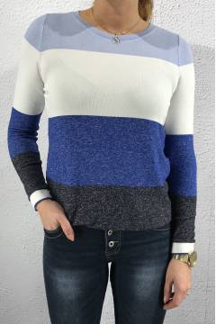 Top Odne Ldt QR stripes Blue/White