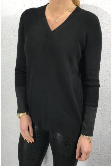 Sweater long lurex black